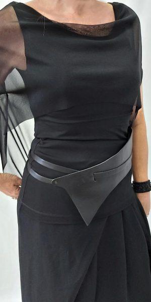 Shirt van Xenia, Zwart shirt met voile, Xenia Design bij sjazz