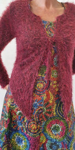 Vest van Sjàzz, roze/rode vest, jurk van heart, najaarscollectie Heart