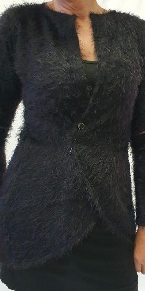 zwart vest, sjazz design, lang zwart vest, zacht zwart vest