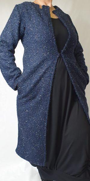 Glittervest, donkerblauw lang vest, donkerblauw vest, aparte vest, sjàzz Roosendaal