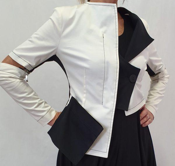 Apart zomerjasje, jas met afritsbare mouwen, katoenen zomerjasje zwart/off white, Xenia Design, Xenia Design bij Sjazz