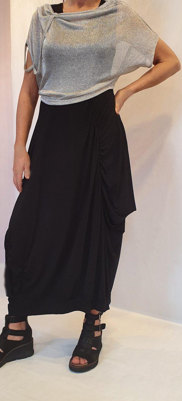 Sjàzz combinatie, zwarte jurk, super aparte top zilver