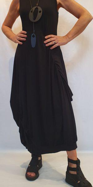 Zwarte jurk, aparte zwarte jurk, lange zwarte jurk, sjazz