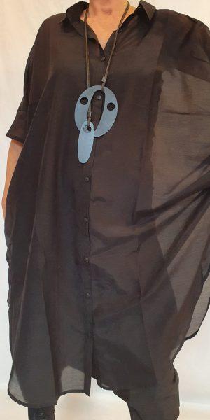 Zijden blouse, Nör blouse, zwarte blouse, grote maten blouse,
