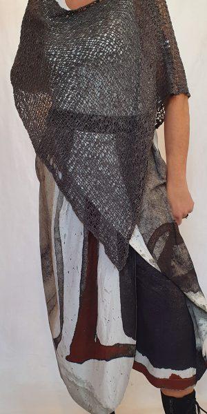 Crea bij sjàzz Design, aparte broekrok van Crea, breisel van Sjàzz, top voor over de armen