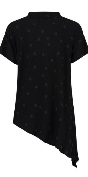 #Sjazz design#, # Elsewhere#, # aparte asymmetrische blouse #, # zwarte blouse met dots# , # blouse met korte mouwen#,
